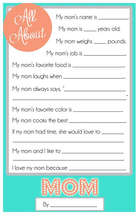 printable mother s day questionnaire mother s day questionnaire a free printable for the kids
