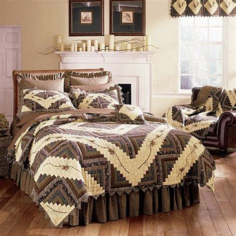 pine bedding barn raising pine cone quilt northwoods quilts and