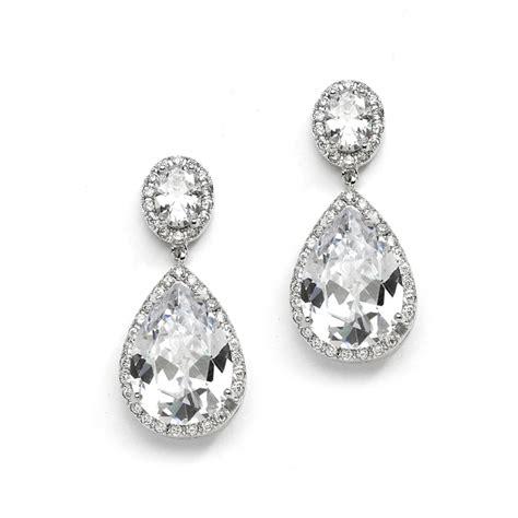 bridal drop earrings jewelry w pear shaped cubic zirconia