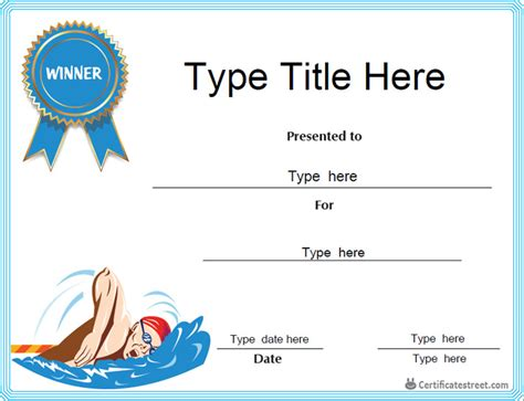 swimming award certificate template certificate free award certificate templates no