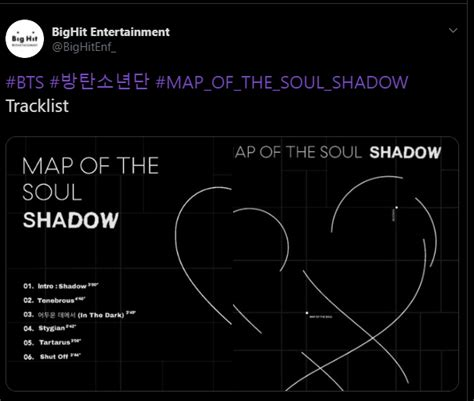 bighit releases tracklist  map   soul shadow