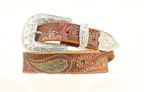 nocona western belt womens leather studded paisley brown