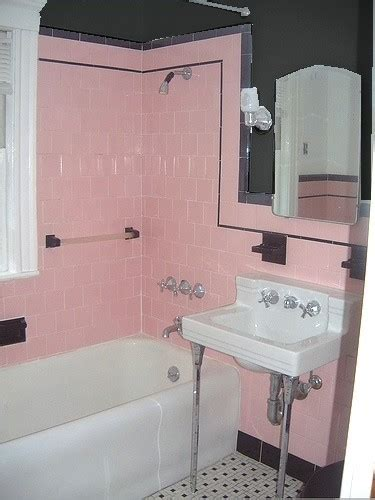 black and pink bathroom ideas retro home accents what to do with pink and black bathroom tile ramshackle glam