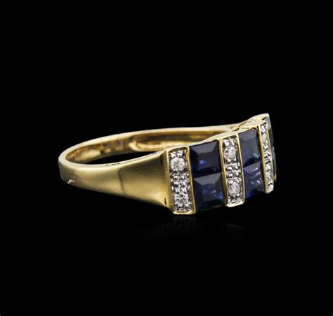 Blue Safir 1 1 14kt yellow gold 1 67ctw blue sapphire and ring