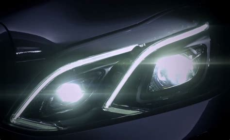 mercedes headlights at night mercedes benz previews 2014 e class headlights news