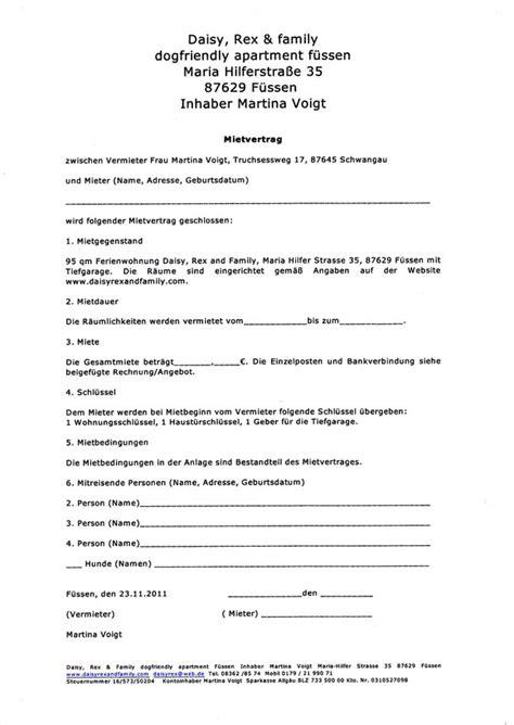 Muster Kündigung Mietvertrag Bei Tod Mietvertrag Ferienwohnung F 252 Ssen Rex And Family Friendly Apartment F 252 Ssen Im