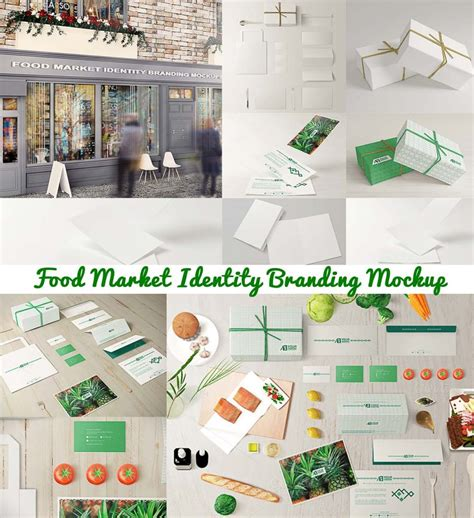 Marked Identity food market branding mockup free