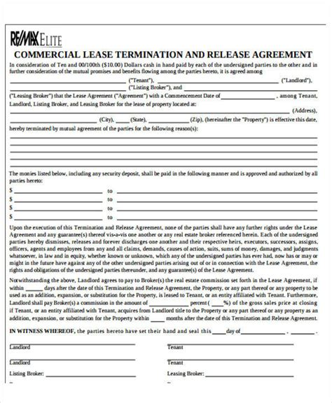 Commercial Lease Termination Agreement by 41 Free Sle Agreements
