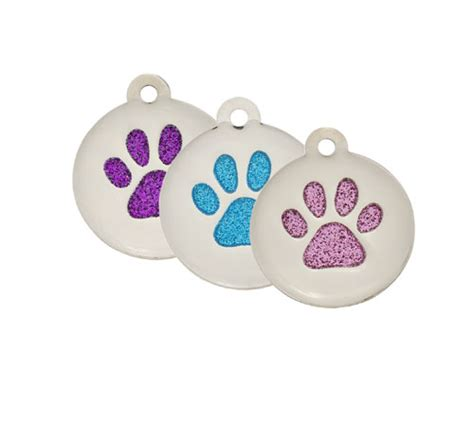 Brego Split Pet Gliter premium large glitter paw print pet id tags