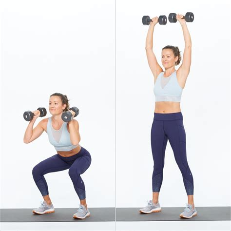 Dumbbell Dan Barbel dumbbell thrusters hiit workout for weight loss popsugar fitness photo 8