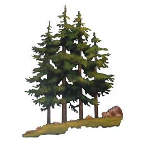 Painted Kitchen Furniture Hand Painted Pine Trees Metal Wall Art