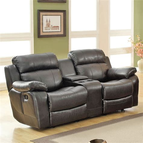 black reclining loveseat darrin leather reclining loveseat with console black