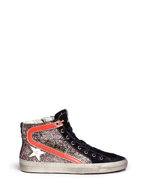 golden goose high top sneakers golden goose deluxe brand slide glitter high top sneakers
