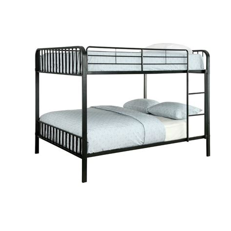 full over full metal bunk beds furniture of america ciera full over full metal slat bunk