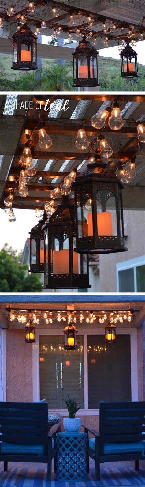 Big Lots Outdoor Lights Diy Ladder Light Centerpiece Outdoor Makeover With Big Lots A Shade Of Teal