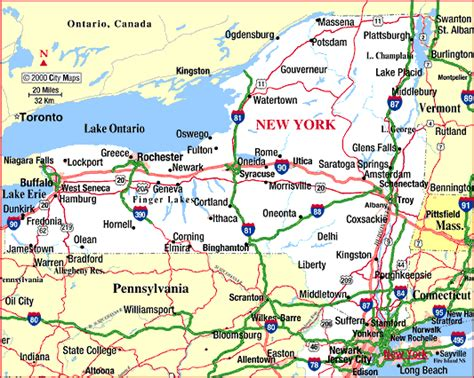 map of state of new york new york state highway map new york map
