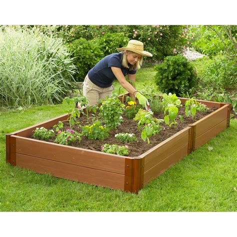 Raised Garden Planter Boxes by Frame It All 4 X 8 Recycled Resin Raised Garden Bed 12h