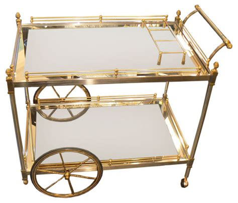 Vintage Metal Kitchen Cabinet brass and nickle tea bar cart modern bar carts by