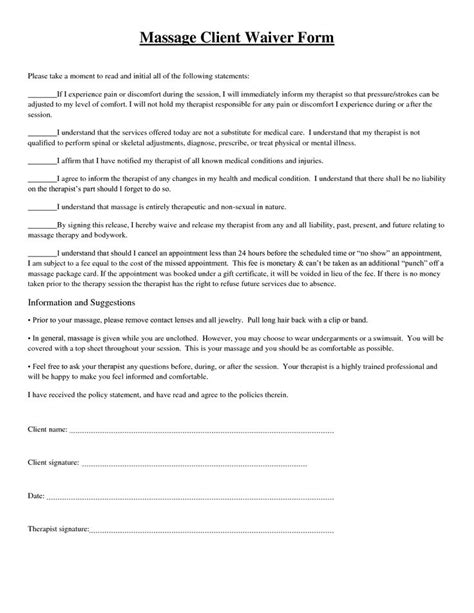 Release Letter To Client Client Waiver Form Picture Therapy And Pictures
