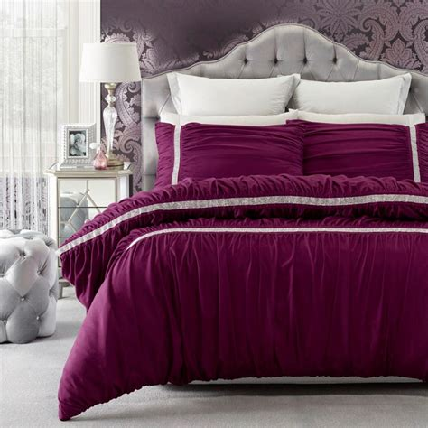 purple ruched comforter persia purple ruched diamante soft feel queen king quilt