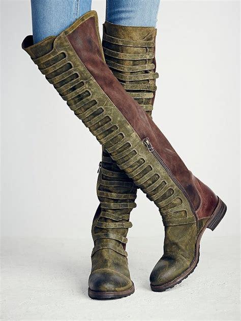 Winter Vintage Boots vintage knee high boots flat multi color winter
