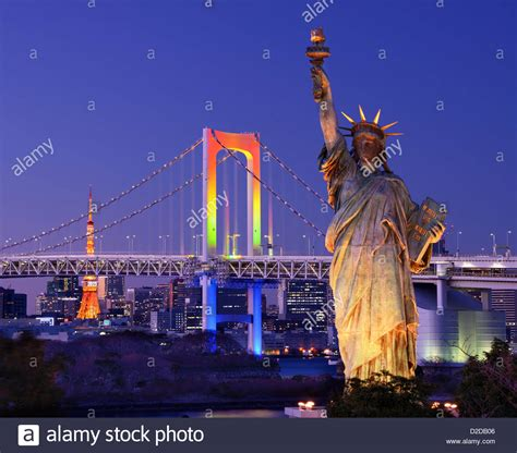 Seen At Tokio by Statue Of Liberty Rainbow Bridge And Tokyo Tower As Seen