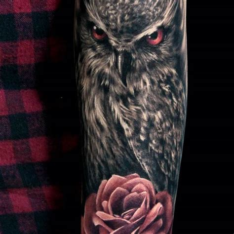 tattoo owl rose image gallery owl and roses