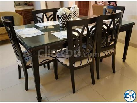 Glass Top Dining Room Table And Chairs Hatil 6 Seater Dining Set Clickbd