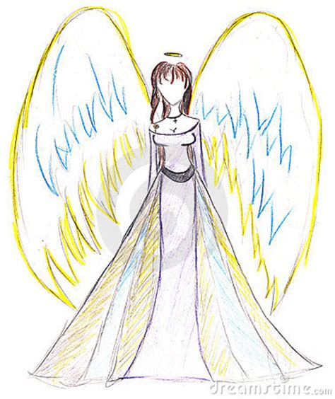 childs drawing angel  wings stock images image