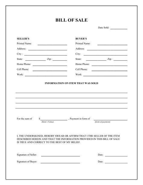 vehicle bill of sale form free download edit fill create and print