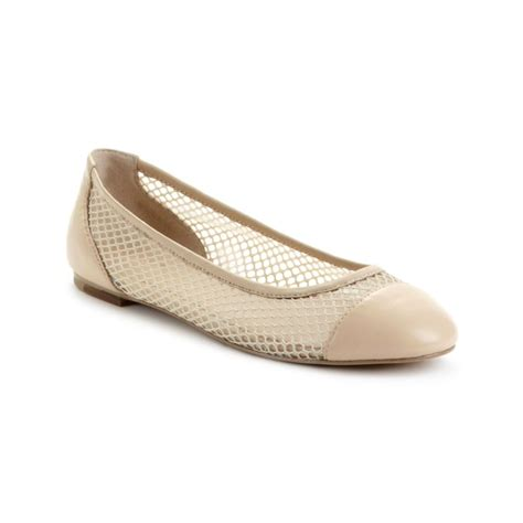 tahari shoes flats tahari nellie mesh ballet flats in beige butter lyst
