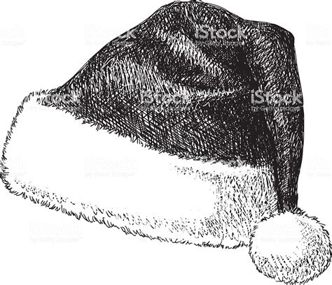 black and white christmas hat santa hat drawing stock vector more images of 2015 495333380 istock