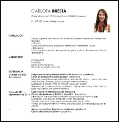 Modelo De Curriculum Vitae Para Trabajo Chile Modelo Curriculum Vitae Especialista En Manicura Y Pedicura Livecareer