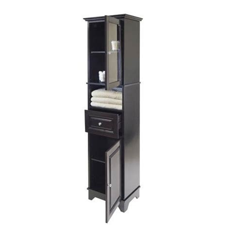 Alps Tall Cabinet W Glass Door And Drawer Winsome Wood Glass Door Linen Cabinet