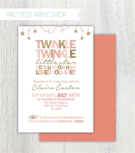 twinkle twinkle card templates to print printable twinkle twinkle invitation pink and