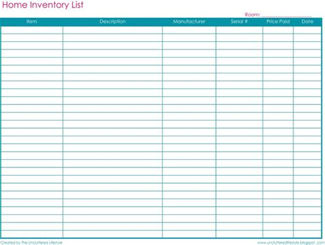 Free Printable Inventory List Tracking Spreadsheet Spreadsheets Free Printable Spreadsheets Printable Spreadsheet Template