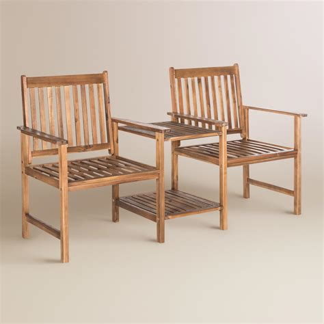 natural wood bench outdoor natural brown wood twin seat outdoor bench world market