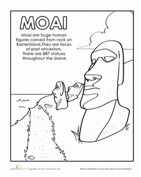 easter island coloring page easter island worksheet education com