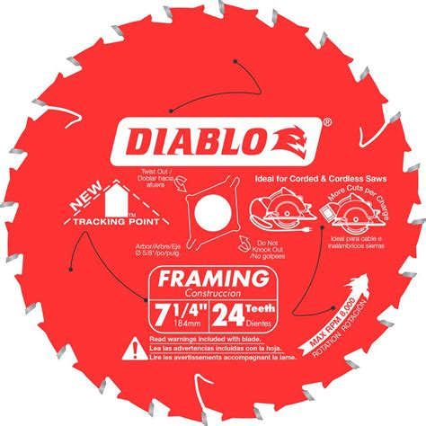 Circular Saw Blade Edesso 7 X24t diablo 7 1 4 in x 24 teeth tracking point framing saw