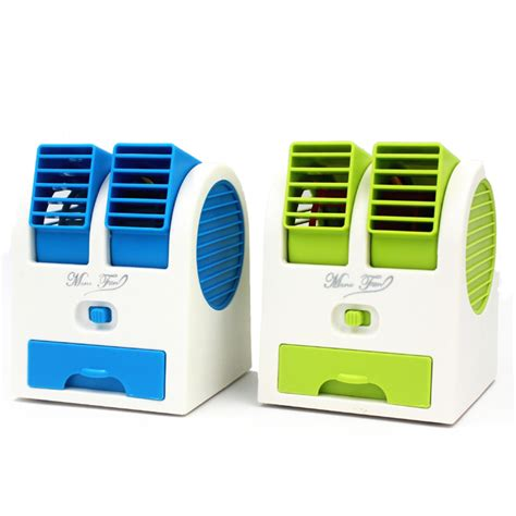 Promo Ac Mini Ac Duduk New Generation With Fan Mini new 5th generation handle mini air conditioner portable air cooler usb recharge blue green in