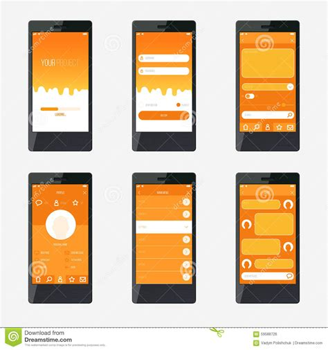 mobile application template template mobile application interface design stock vector