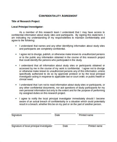 confidentiality policy template 17 confidentiality agreement templates free sle