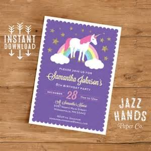 diy birthday invitations templates unicorn birthday invitation template diy by jazzhandspaperco