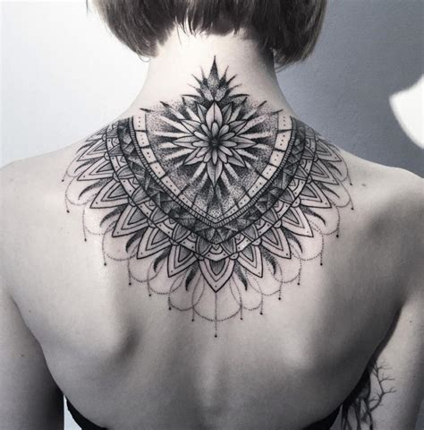 mandala neck tattoo dotwork mandala on neck