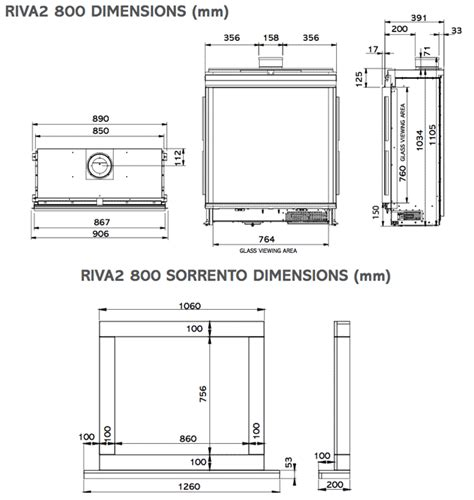 gazco riva 2 800 dimensions crafts