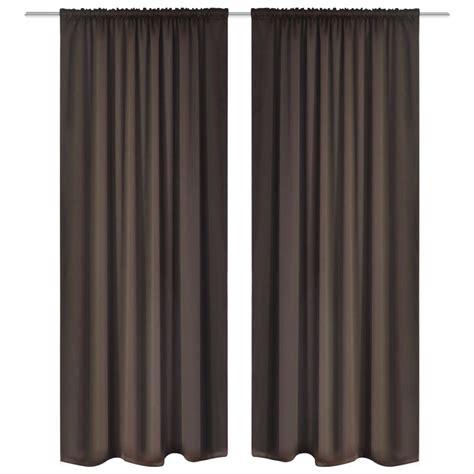 Brown Blackout Curtains Vidaxl Co Uk 2 Pcs Brown Slot Headed Blackout Curtains 135 X 245 Cm