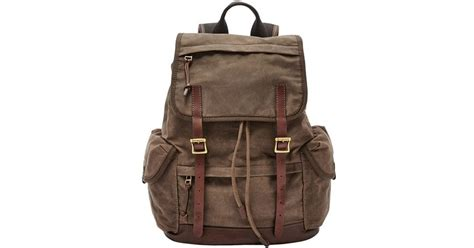 Fossil Defender Tote fossil defender canvas rucksack in brown lyst
