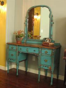 Vintage Makeup Vanity Table European Paint Finishes Chippy Teal Vanity