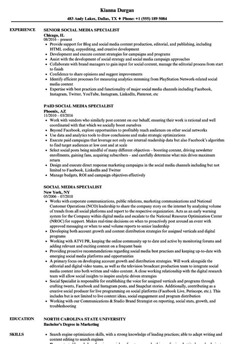 Social Media Specialist Resume by Social Media Specialist Resume Sles Velvet