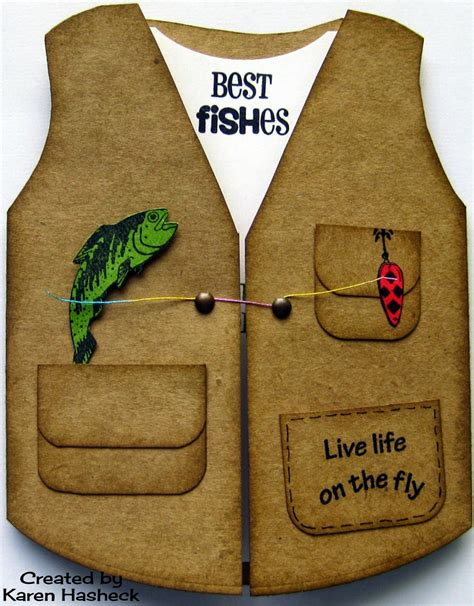 fishing birthday card template s kreative kards s fishing vest card